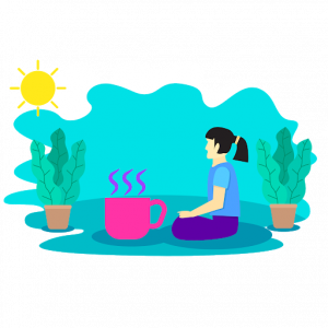 calm woman with coffee and plants