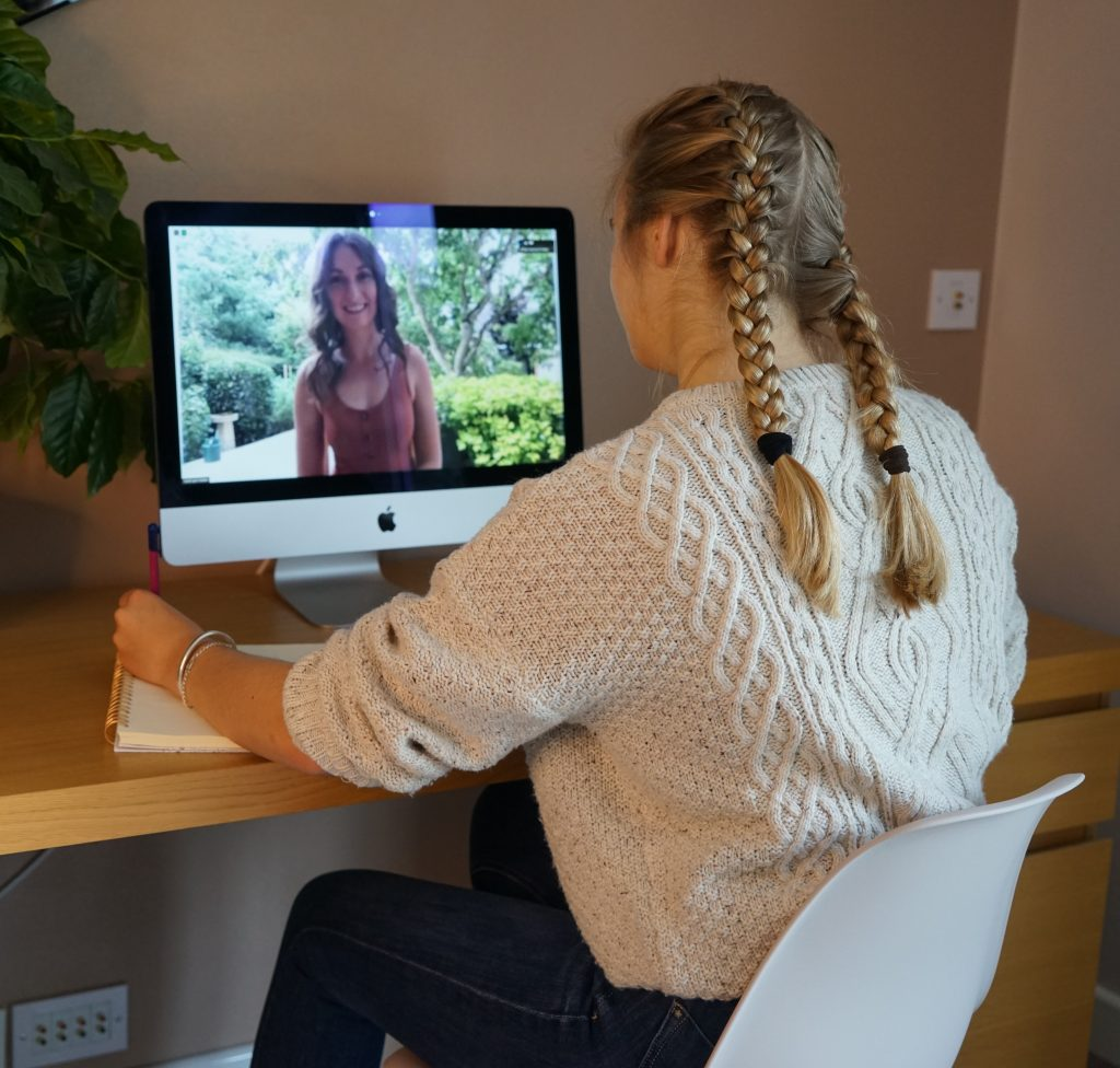 young girl engaging in GCSE online tuition