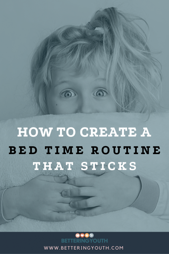 Young girl holding a pillow. Teaching how to create a bedtime routine that sticks on the Bettering Youth blog