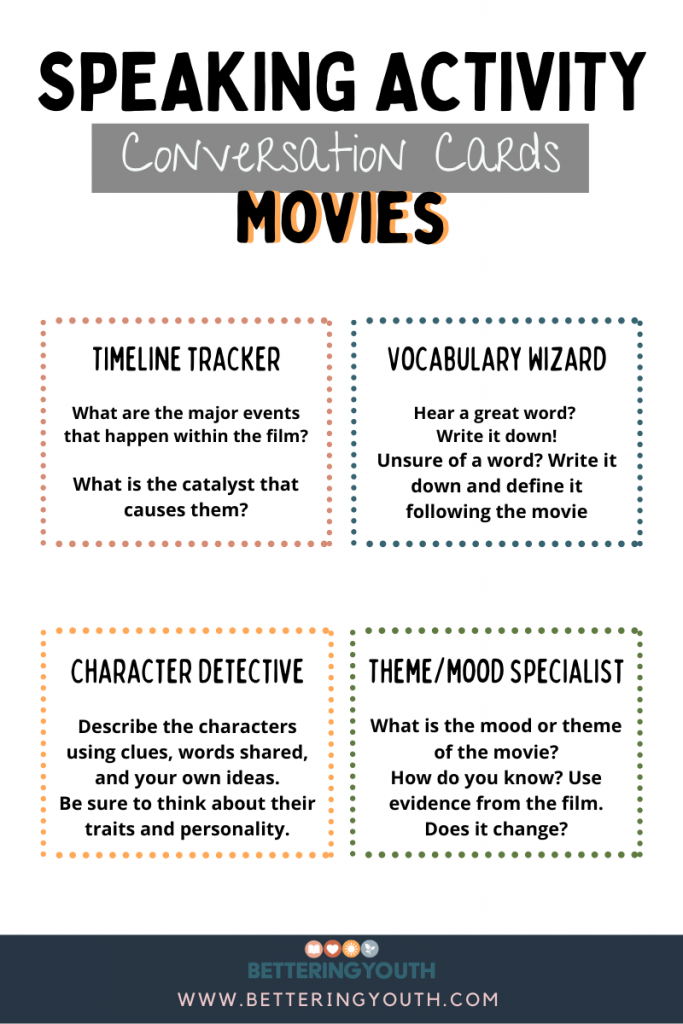 This is a poster with tasks students can engage in while watching a movie to promote focus