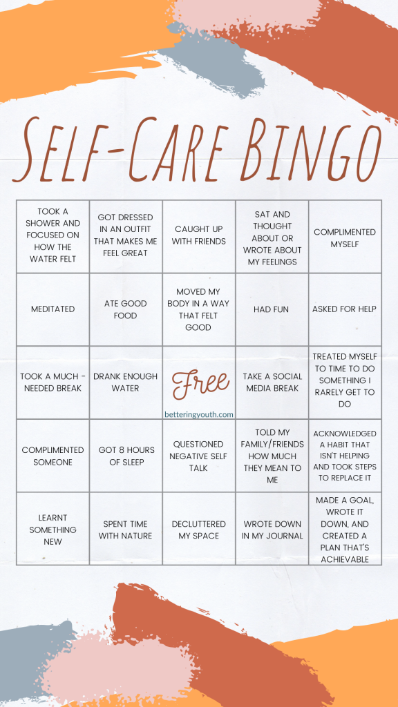 Bettering Youth's Self Care Bingo