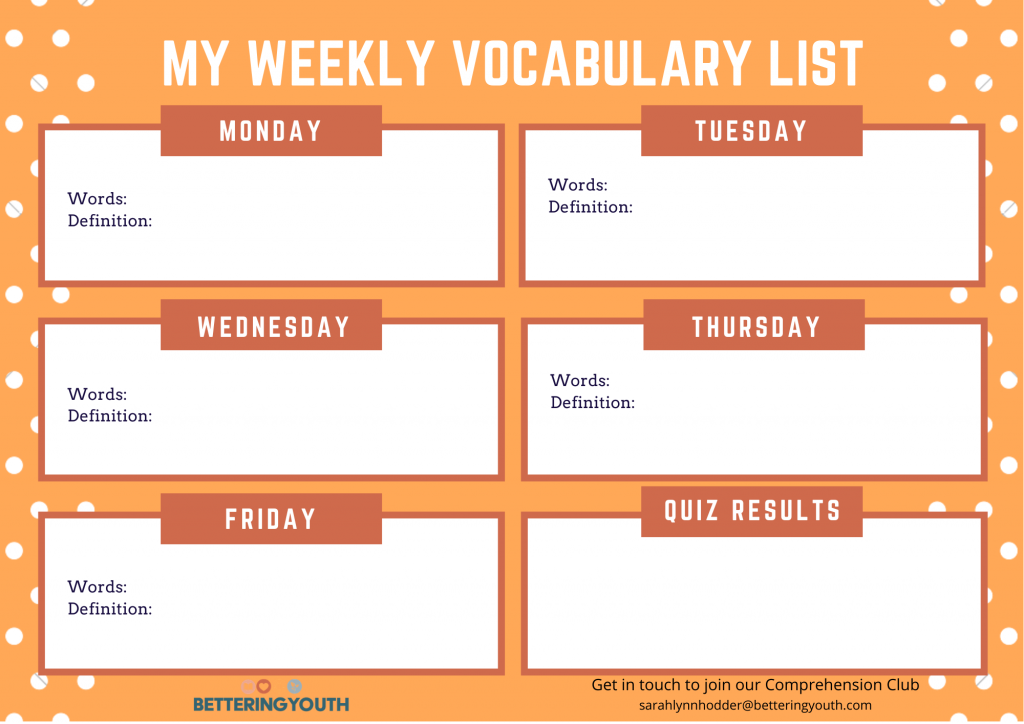 Bettering Youth shares 9 weeks of 11+ vocabulary