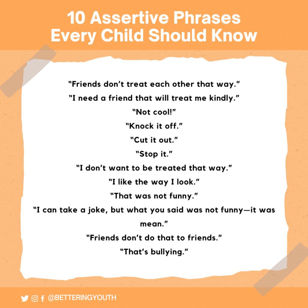 10 assertive phrases all children should know to stand up to bullying