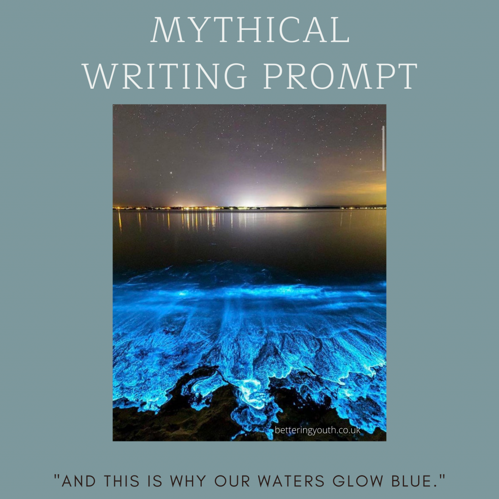 Creative writing prompt to explain bioluminescence.  https://www.reddit.com/r/interestingasfuck/comments/k1p3ej/bioluminescence_algae_on_australian_beach_back_in/