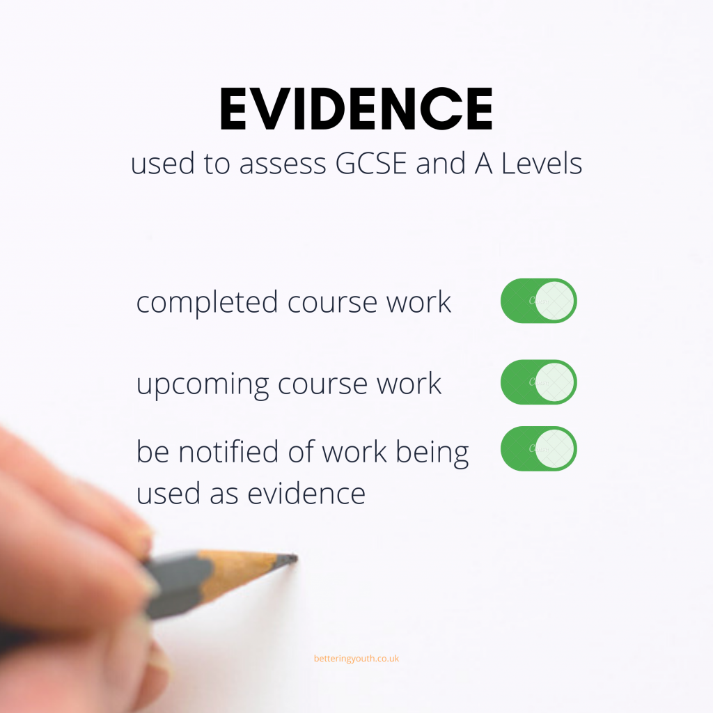 Evidence to be used as teachers mark gcses and a levels